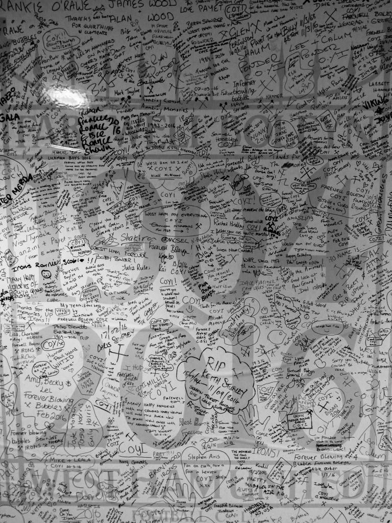 Comment wall, inside the stadium, Boleyn Ground