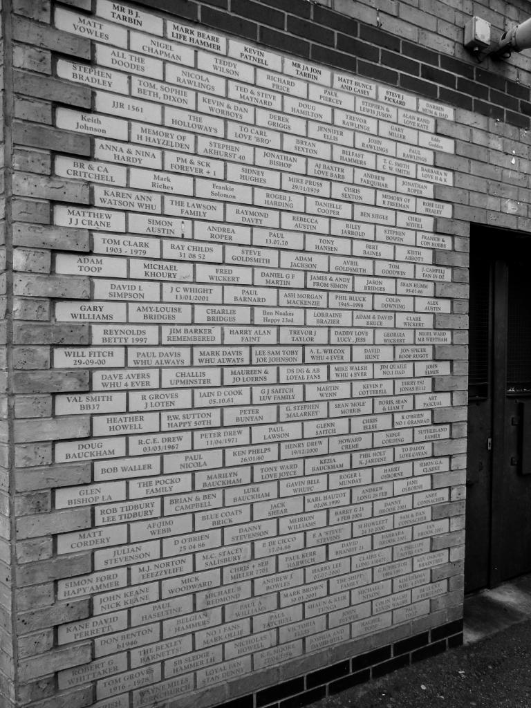 Named bricks, exterior wall, Boleyn Ground